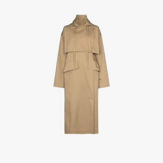 Markoo Hooded Tie Front Cotton Trench Coat