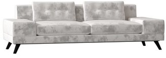 Poshbin Delta Sofa Body Fabric: Klein Azure, Leg Color: Black, Width: Standard, Cushion Fill: Soft Foam