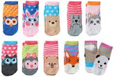 Pink Cookie Girls 4-16 10-pk. Whimsical Animal Faces Low-Cut Socks