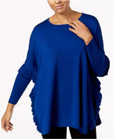 NY Collection Ruffled Poncho Sweater