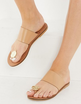 ASOS DESIGN Forthright toe coin leather flat sandals in beige