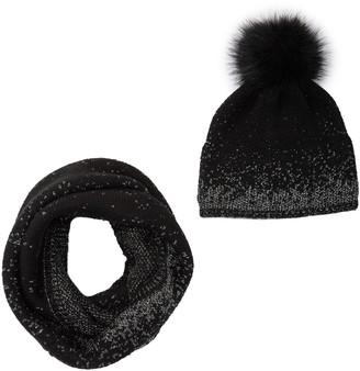 Modena Faux Fur Pom Pom Hat & Loop Scarf - 2-Piece Set