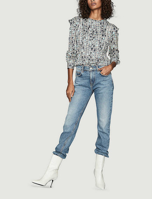 Reiss Olivia ditsy-print ruffle crepe blouse