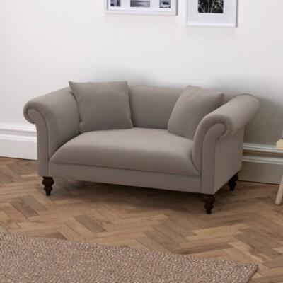 The White Company Earlsfield Velvet Natural Oak Legs, Silver Grey Velvet, One Size