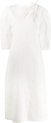 Jil Sander Puff Sleeve Midi Shirt Dress