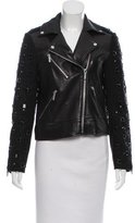 MICHAEL Michael Kors Embellished Leather Moto Jacket