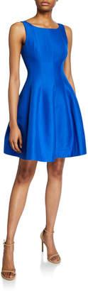 Halston Bateau-Neck Sleeveless Fit-&-Flare Silk Faille Dress