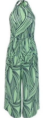 Tibi Cropped Printed Silk Halterneck Jumpsuit