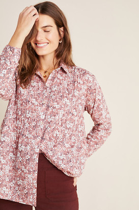 The Sasha Smocked Boyfriend Buttondown By Pilcro and the Letterpress in Brown Size XS