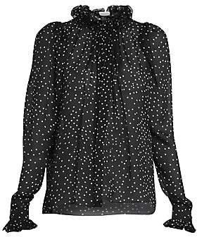3b669329eba2db Magda Butrym Women's Sheer Silk Organza Polka-Dot Blouse
