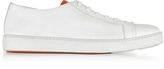 Santoni Off White Hammered Leather Men's Sneakers