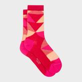 Paul Smith Women's Red Geometric Pattern Socks