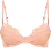 Azalea Peach push-up bra in Leavers lace and silk georgette