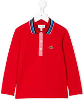 Lacoste Kids striped collar polo shirt