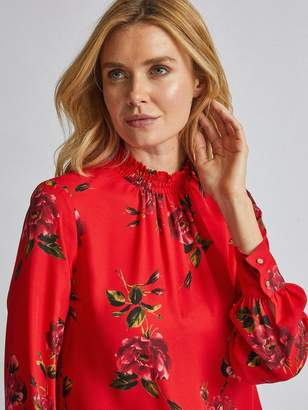 Dorothy Perkins Long Sleeve Floral Shirred Neck Top - Red