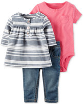 Carter's 3-Pc. Striped Tunic, Bodysuit & Jeans Set, Baby Girls (0-24 months)