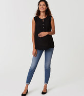 LOFT Maternity Skinny Crop Jeans in Bright Mid Indigo Wash