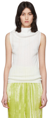 Nina Ricci White Pleated Tank Top