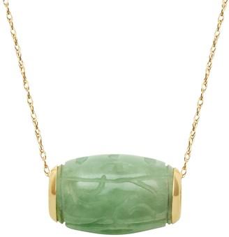 Jade 14k Gold Tube Pendant Necklace