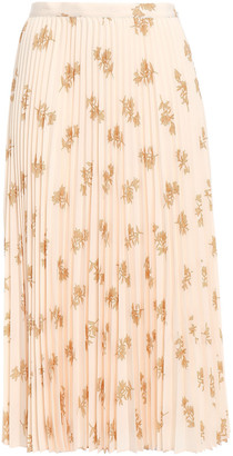 Joie Adeena Pleated Floral-print Crepe De Chine Midi Skirt