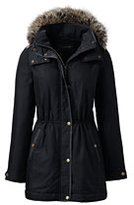 Lands' End Women's Petite City Anorak Coat-Black