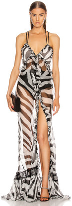 Redemption Long Dress in Zebra Black & White | FWRD
