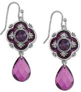 "1928 Jewelry ""Domenica"" Silver-Tone Amethyst Purple Faceted and Enamel Drop Earrings"