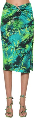 Versace Jungle Print Viscose Crepe Midi Skirt