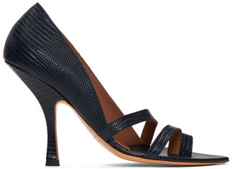 Y/Project Navy Snake Strap Heeled Sandals