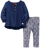 7 For All Mankind Pintuck Top & Skinny Print Pant Set (Baby Girls)