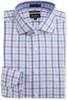 Neiman Marcus Trim-Fit Dobby Check Dress Shirt, Pink