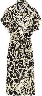 Alberta Ferretti Tie-front Printed Silk Crepe De Chine Dress