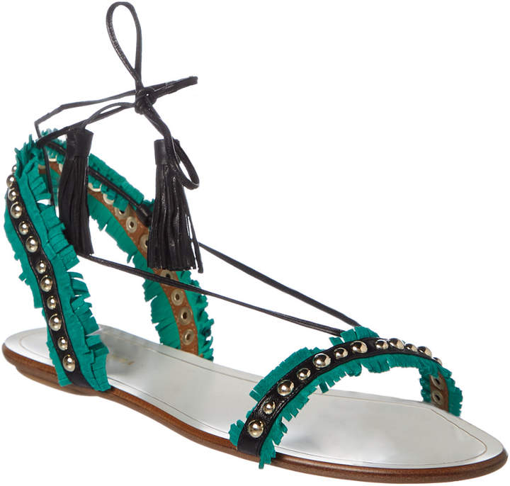 Aquazzura Careyes Fringed Leather & Suede Sandal