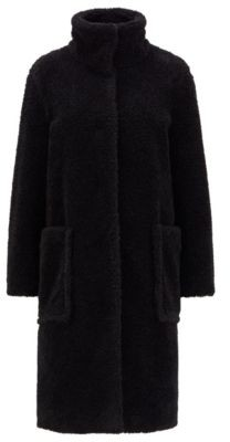 HUGO BOSS Long relaxed-fit teddy coat with stand collar