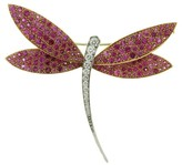 Van Cleef & Arpels 18k Yellow & White Gold Diamond Pink Sapphire Dragonfly Large Brooch