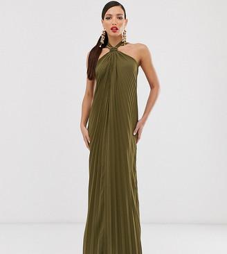 Asos Tall DESIGN Tall halter trapeze maxi dress in pleat-Green
