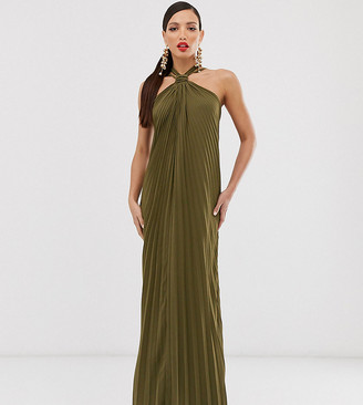 Asos Tall ASOS DESIGN Tall halter trapeze maxi dress in pleat