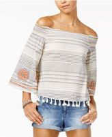XOXO Juniors' Embroidered Off-The-Shoulder Top