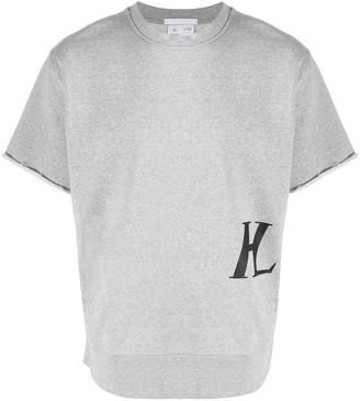 Helmut Lang Short Sleeve Monogram Print Sweatshirt