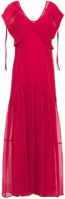 3.1 Phillip Lim Layered Tie-detailed Crinkled Cotton And Silk-blend Maxi Dress