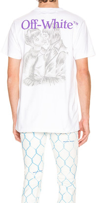 Off-White Pencil Kiss Short Sleeve Tee in White & Multi | FWRD