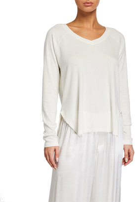 PJ Harlow Frankie Slit Long-Sleeve Lounge Shirt