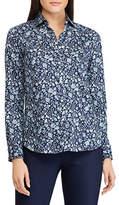 Chaps Petite No-Iron Floral Cotton Shirt