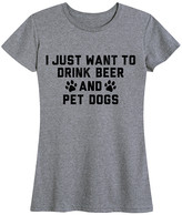 Instant Message Women's Women's Tee Shirts HEATHER - Heather Gray 'I Just Want To Drink Beer & Pet Dogs' Relaxed-Fit Tee - Women