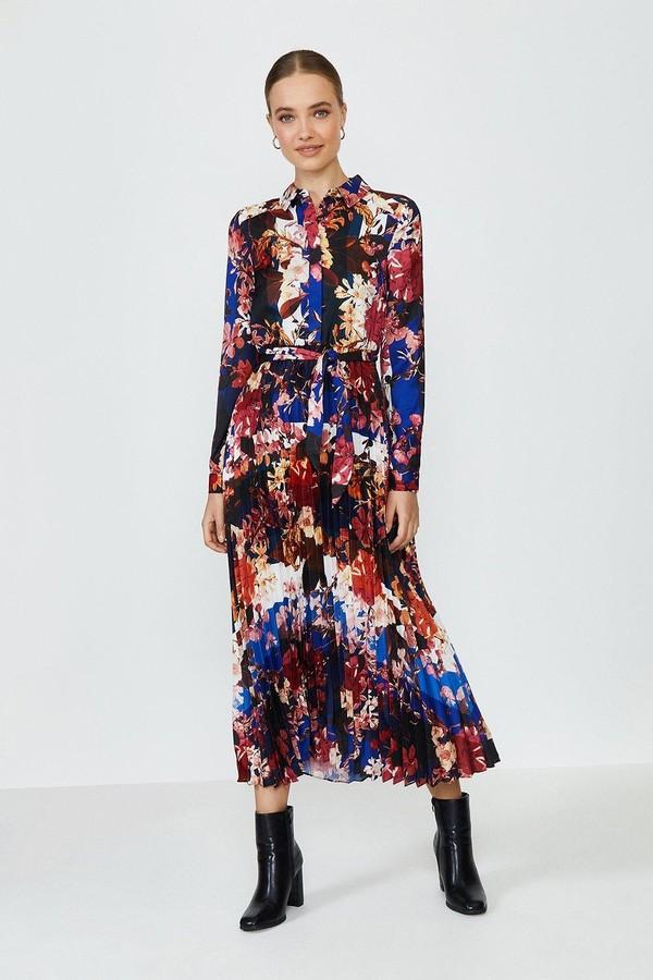 Coast Floral Pleated Skirt Shirt Dress