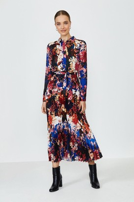 Coast Floral Pleated Skirt Shirt Dress