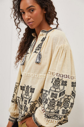 Antik Batik Sofia Embroidered Peasant Blouse By in Beige Size XS