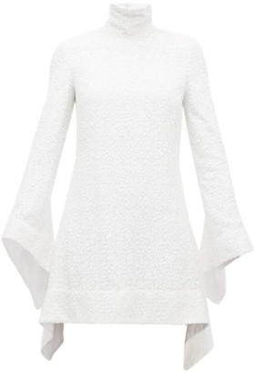 Halpern Sequinned Bell-sleeved Roll-neck Mini Dress - White