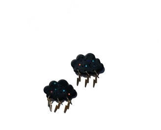 Babaloo Jewelry Lightning Cloud Statement Studs In Black