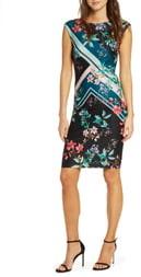 Vince Camuto Floral & Stripe Scuba Crepe Sheath Dress